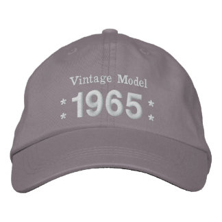 1965 or Any Year 50th Birthday A4P GRAY and WHITE Embroidered Hat
