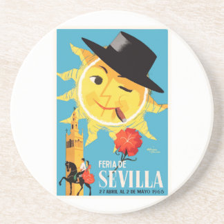 1965 Seville Spain April Fair Poster Coaster