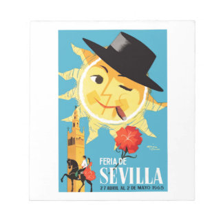 1965 Seville Spain April Fair Poster Notepad