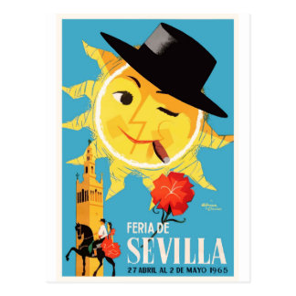 1965 Seville Spain April Fair Poster Postcard