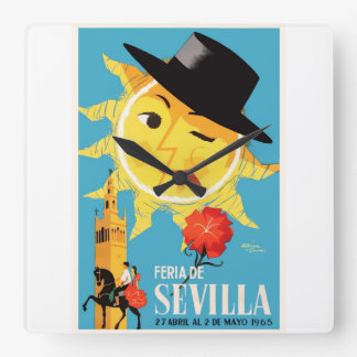 1965 Seville Spain April Fair Poster Square Wall Clock