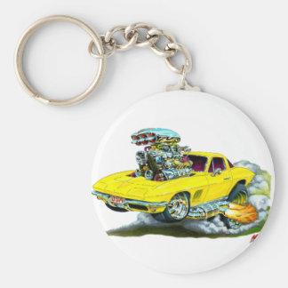 1966-67 Corvette Yellow Car Basic Round Button Keychain