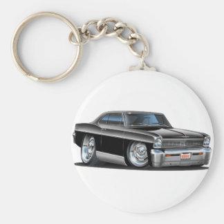 1966-67 Nova Black Car Basic Round Button Keychain