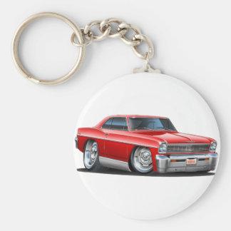 1966-67 Nova Red Car Basic Round Button Keychain