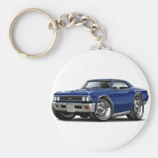 1966 Chevelle Dark Blue Car Basic Round Button Keychain