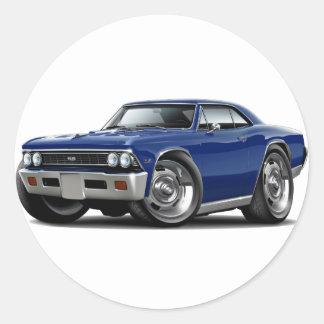 1966 Chevelle Dark Blue Car Classic Round Sticker