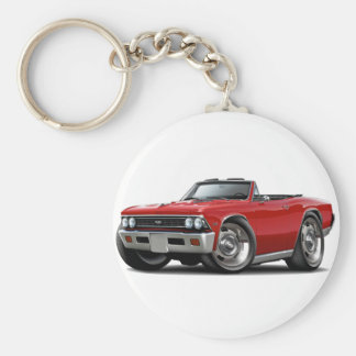 1966 Chevelle Red Convertible Basic Round Button Keychain