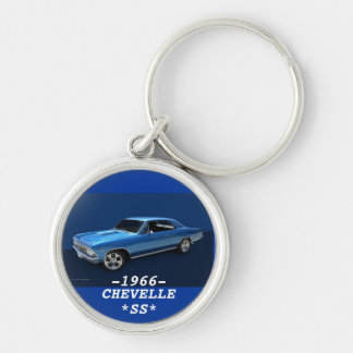1966 CHEVELLE SS Silver-Colored ROUND KEYCHAIN