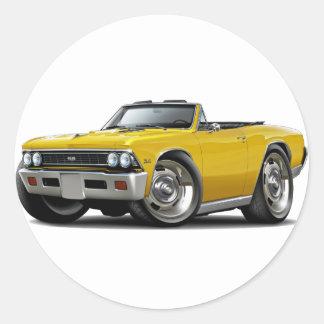 1966 Chevelle Yellow Convertible Classic Round Sticker