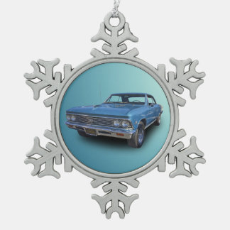 1966 CHEVROLET CHEVELLE SNOWFLAKE PEWTER CHRISTMAS ORNAMENT