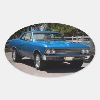 1966 Chevy Chevelle Malibu Chevrolet Muscle Car Oval Sticker
