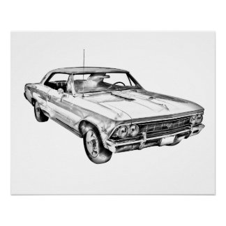 1966 Chevy Chevelle SS 396 Illustration Perfect Poster