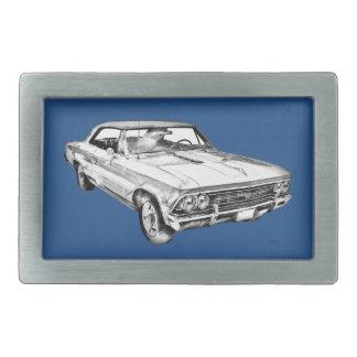 1966 Chevy Chevelle SS 396 Illustration Rectangular Belt Buckle