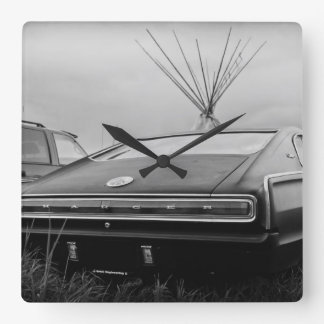 1966 Dodge Charger (B/W) Square Wall Clock