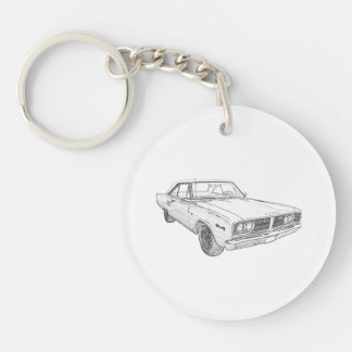 1966 Dodge Coronet Double-Sided Round Acrylic Keychain