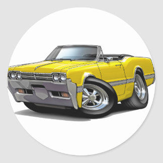 1966 Olds Cutlass Yellow Convertible Classic Round Sticker