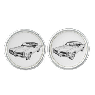1966 Pontiac Lemans Muscle Car Illustration Cufflinks
