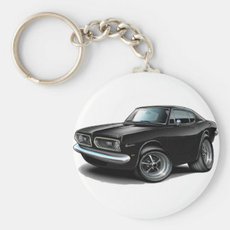 1967-69 Barracuda Black Car Basic Round Button Keychain