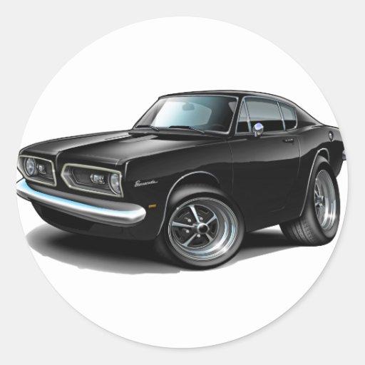 1967-69 Barracuda Black Car Round Stickers