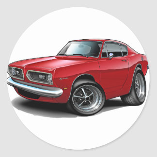 1967-69 Barracuda Red Car Classic Round Sticker