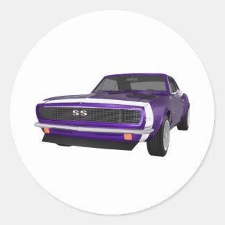 1967 Camaro SS: Purple Finish: 3D Model: Classic Round Sticker