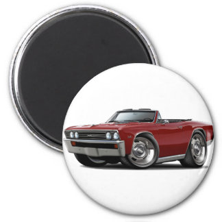 1967 Chevelle Maroon Convertible 2 Inch Round Magnet
