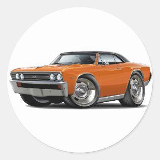 1967 Chevelle Orange Black Top Classic Round Sticker