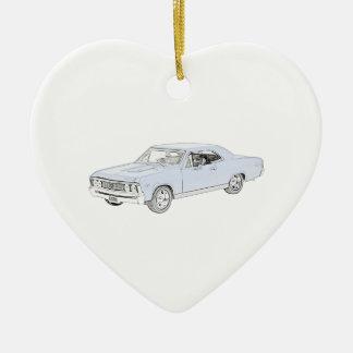 1967 Chevy Chevelle Ceramic Heart Ornament