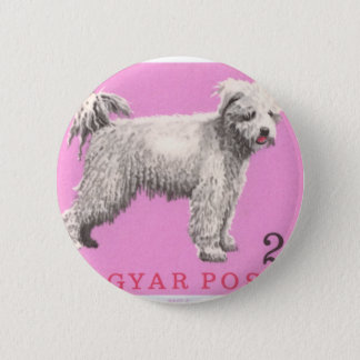 1967 Hungary Pumi Dog Postage Stamp 2 Inch Round Button