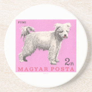 1967 Hungary Pumi Dog Postage Stamp Coaster