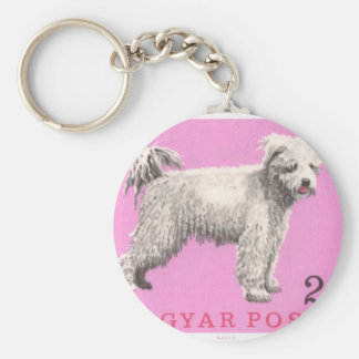 1967 Hungary Pumi Dog Postage Stamp Keychain