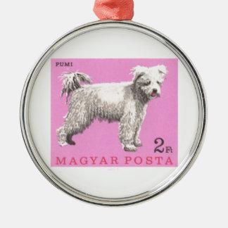 1967 Hungary Pumi Dog Postage Stamp Metal Ornament