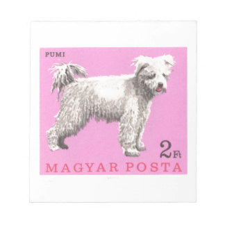 1967 Hungary Pumi Dog Postage Stamp Notepad