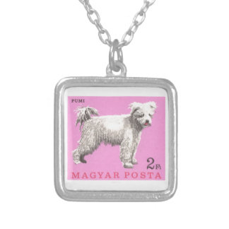 1967 Hungary Pumi Dog Postage Stamp Silver Plated Necklace