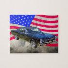1967 Pontiac GTO and American Flag Jigsaw Puzzle