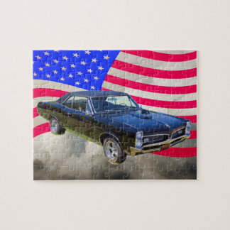 1967 Pontiac GTO and American Flag Jigsaw Puzzle