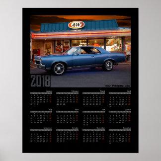 1967 Pontiac GTO Diner Muscle Car 2018 Calendar Poster