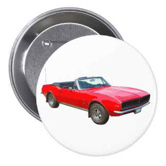 1967 Red Convertible Camaro Muscle Car 3 Inch Round Button