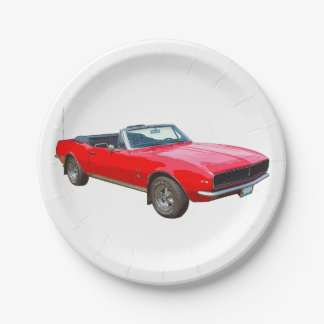 1967 Red Convertible Camaro Muscle Car Paper Plate