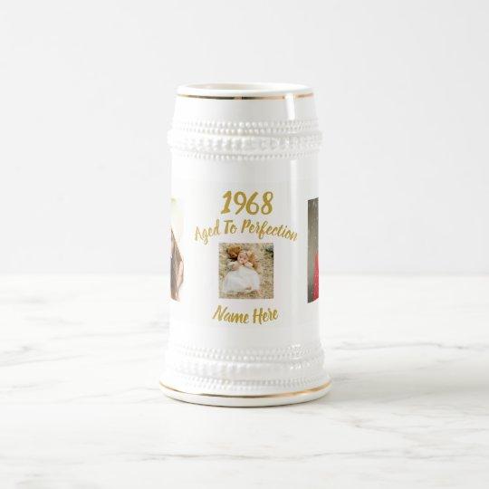 1968 50th Birthday PHOTO Gift Man or Woman Custom Beer Stein