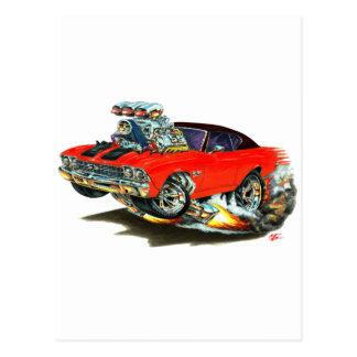 1968-69 Chevelle Red-Black Top Car Postcard