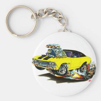 1968-69 Chevelle Yellow-Black Top Car Basic Round Button Keychain
