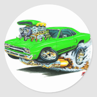 1968-69 Plymouth GTX Lime Car Classic Round Sticker