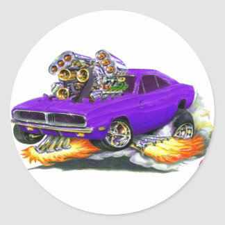 1968-70 Charger Purple Car Classic Round Sticker