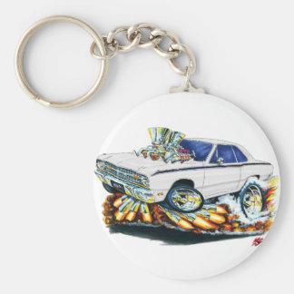 1968-71 Dodge Dart White Car Basic Round Button Keychain