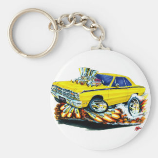 1968-71 Dodge Dart Yellow Car Basic Round Button Keychain