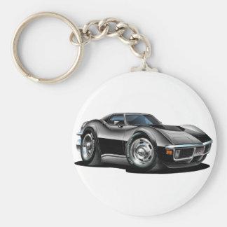 1968-72 Corvette Black Car Basic Round Button Keychain