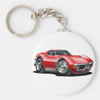 1968-72 Corvette Red Car Basic Round Button Keychain