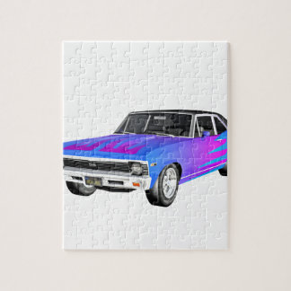 1968 AM Muscle Car in Purple and Blue Jigsaw Puzzle