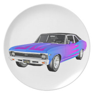 1968 AM Muscle Car in Purple and Blue Plate